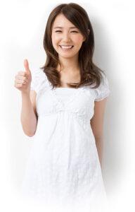 asian woman - thumbs up